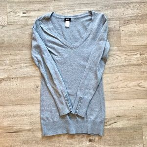 *2/20* H&M Grey Button Sleeve V-Neck Long Sweater